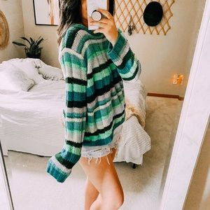Teal chenille oversized cozy ribbed stripe sweater